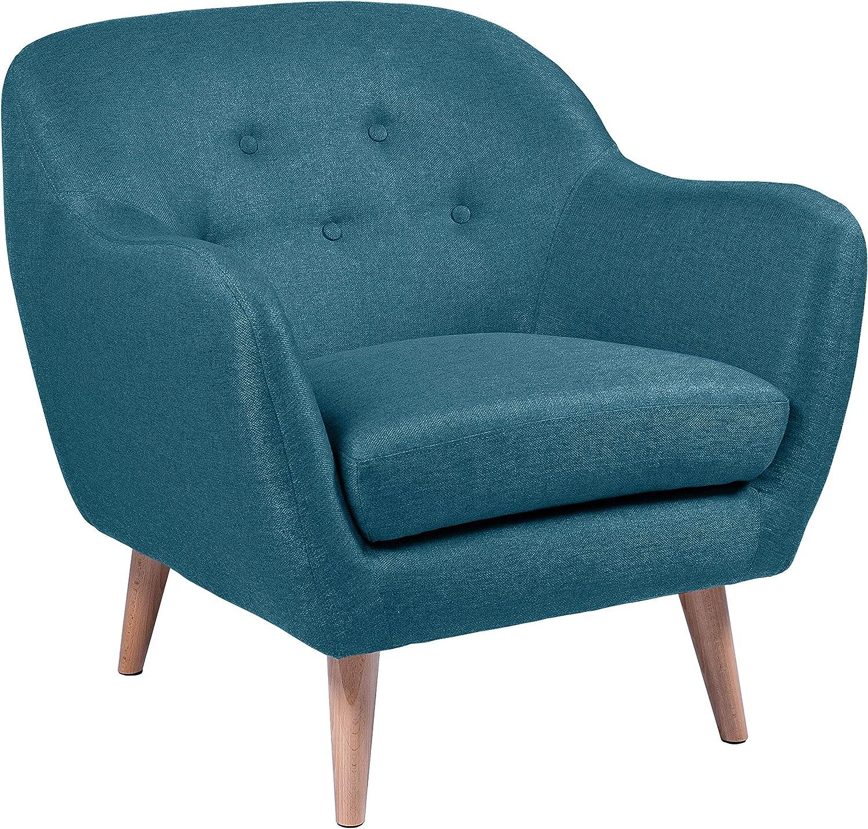 Silla | Sillón relax, 82 x 84 x 82 cm (largo x ancho x alto), azul petróleo, patas de haya lacadas