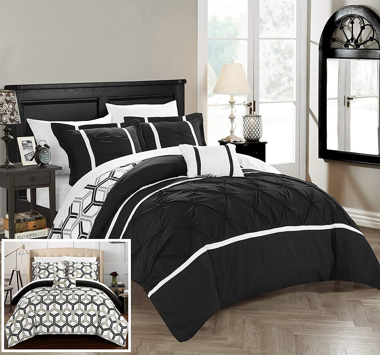 Chic Home Marcia 4 Piece Reversible Comforter Set Bedding with Decorative Pillows Shams King Black