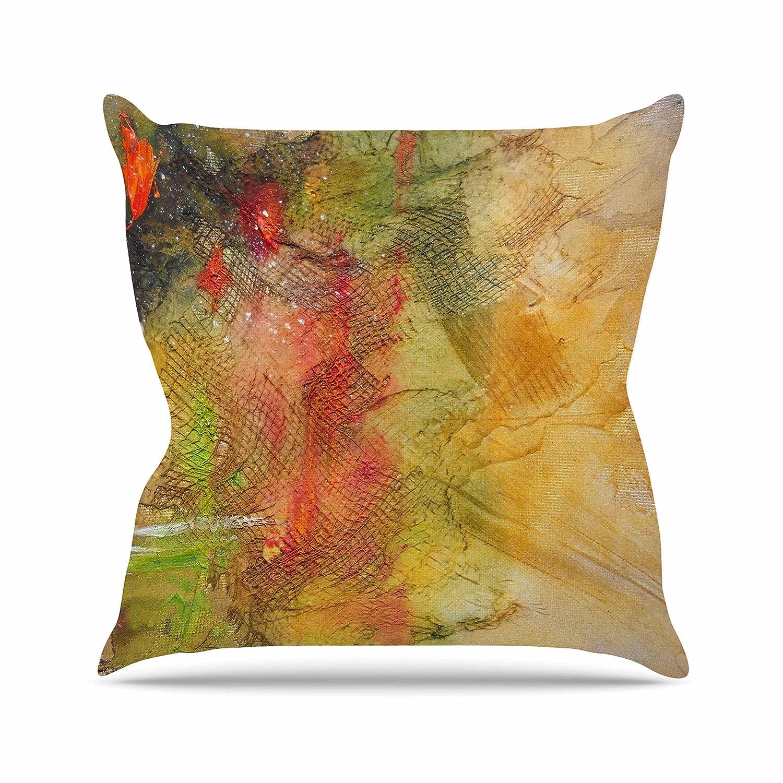 Kess InHouse Carol Schiff Poppyfield Yellow Green 23 x 23 Square Floor Pillow