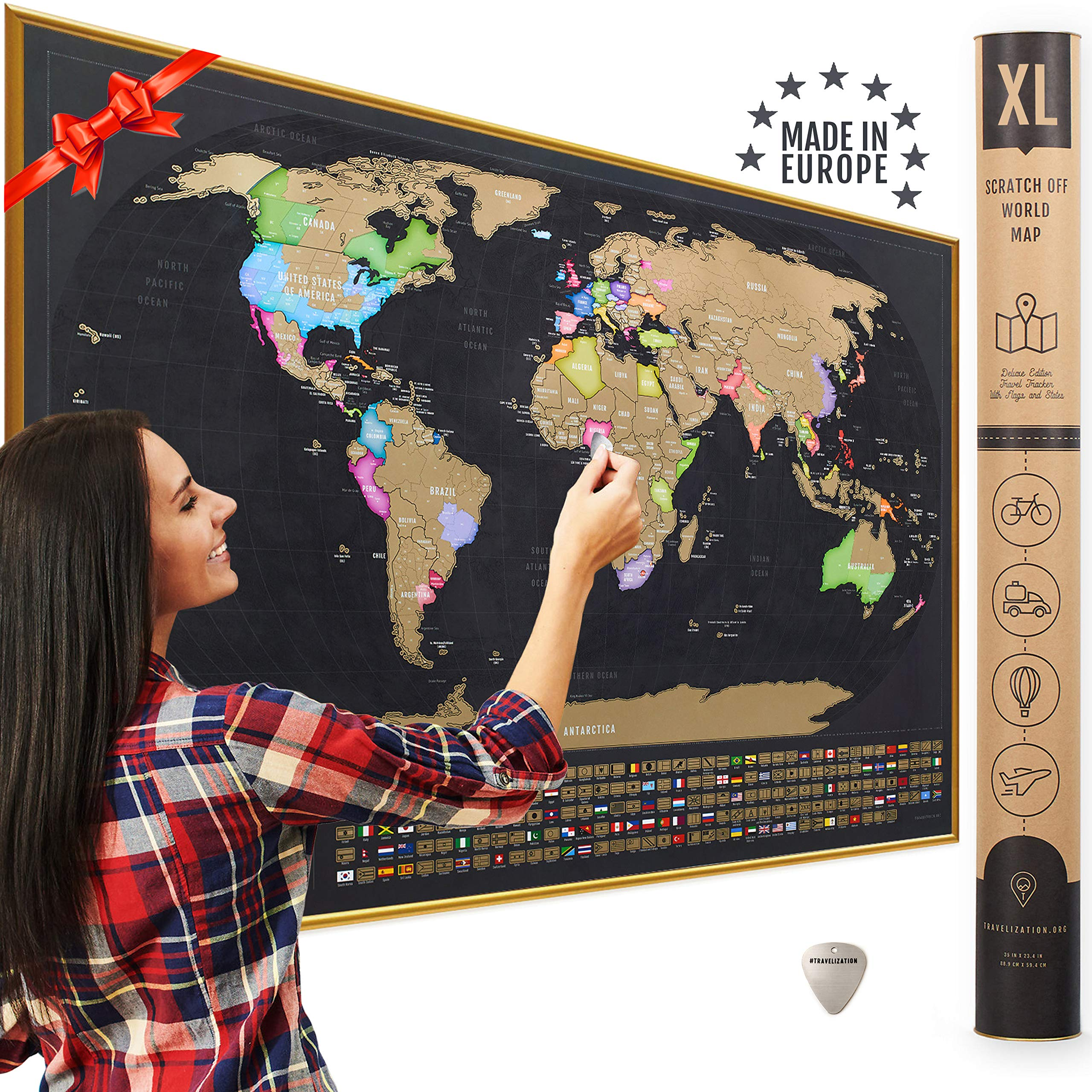 XL Scratch Off Map of the World with Flags - Made in Europe Large 35x23-1/2 inch Scratch Off World Map Poster with US States & Country Flags - Deluxe Travel Decor World Scratch Map, Gift for Travelers by Travelization