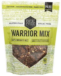 BeeFree Warrior Mix Gluten Free Granola | Gluten Free, Grain Free, & Paleo Granola Mix | Dairy Free, Preservative Free, Oat Free, Junk Free | Clay's Chocolate Buzz, 9 Oz Bag