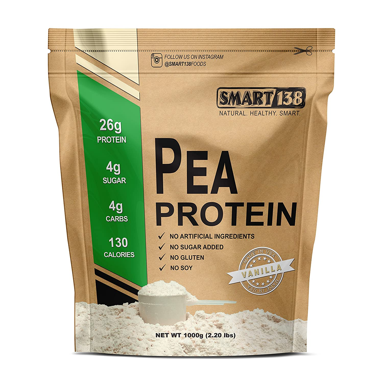 Smart138 Vanilla Pea Protein, Ultra-Fine Powder, Vegan, Gluten-Free, Soy-Free, Dairy-Free, Non-GMO, USA Canada, Keto Low Carb , Natural BCAAs 1000g 2.2lbs, Vanilla