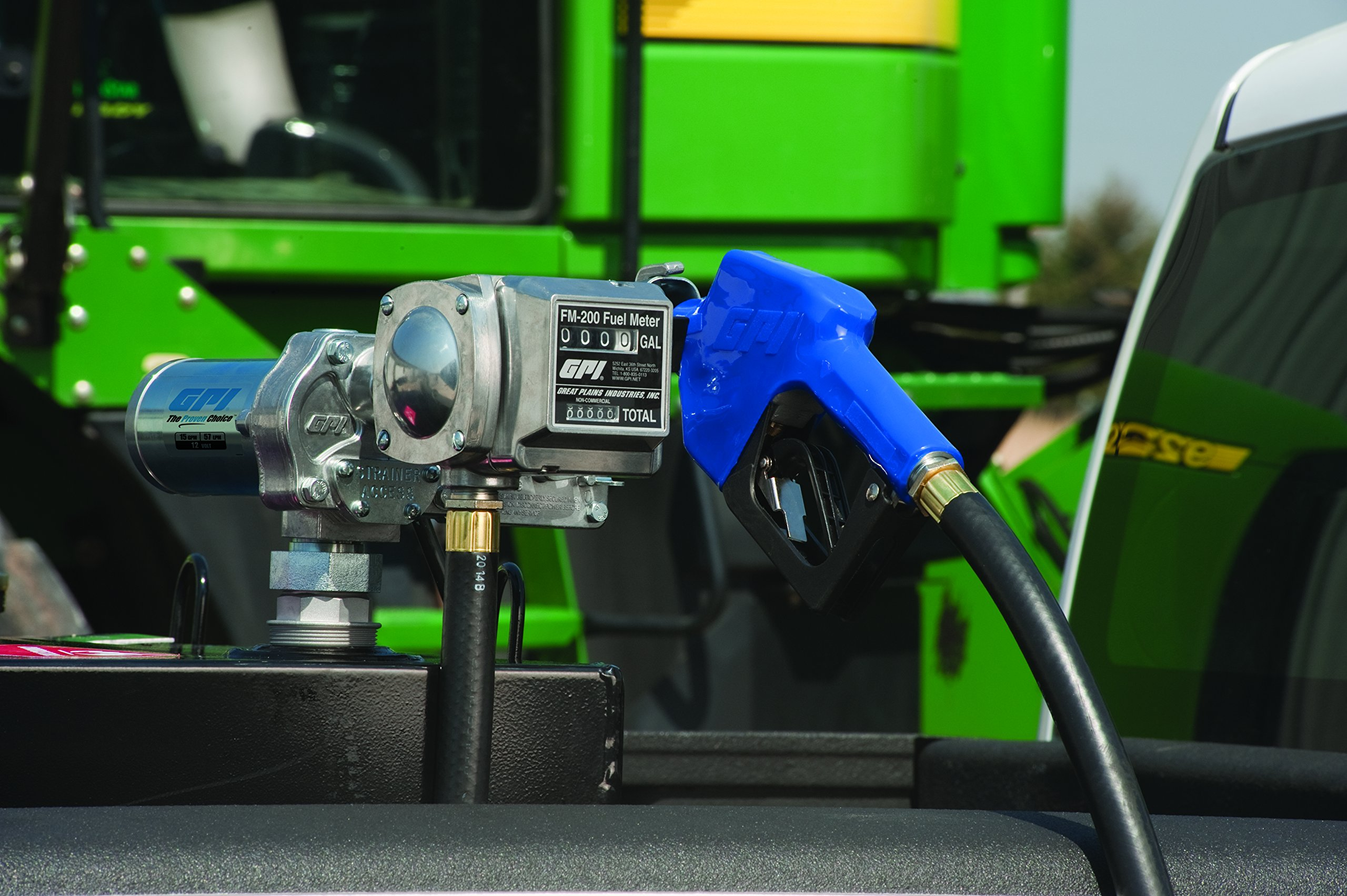 GPI 110610-13, M-150S-AU/FM200-G6N Fuel Transfer Pump/Meter, 15 GPM, 12-VDC, 0.75-Inch Automatic Unleaded Nozzle, 12-Foot X 0.75-Inch Dispensing Hose, 18Ft. Power Cord & Adjustable Suction Pipe