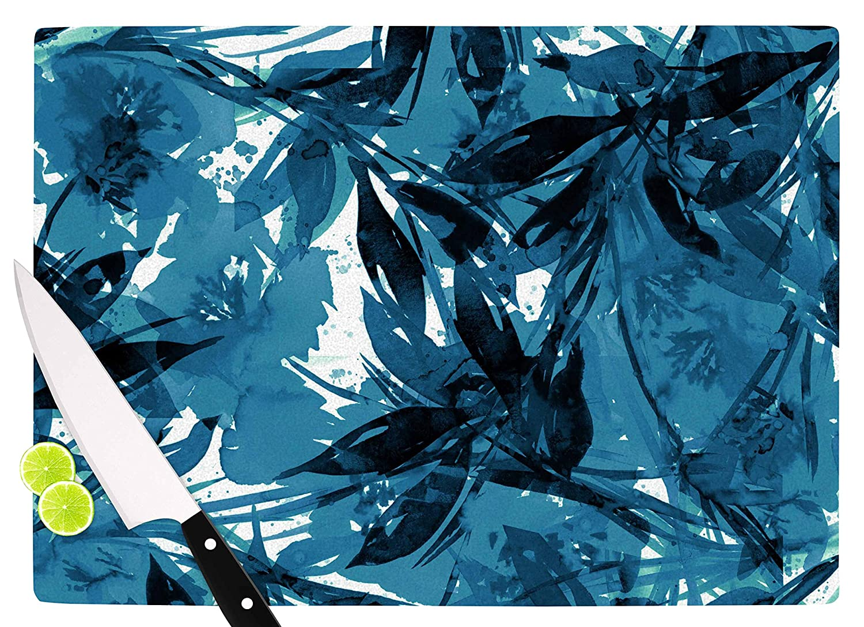 KESS InHouse Ebi EmporiumFloral Fiesta-Blue Blue White Cutting Board 11.5 x 15.75 Multicolor