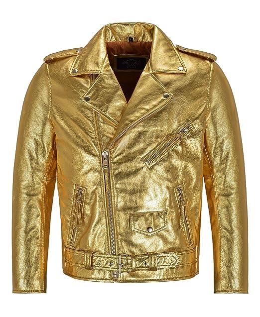 oficial de ventas calientes moda caliente buena calidad Smart Range Leather Chaqueta de Cuero Dorada/Plateada Brando ...