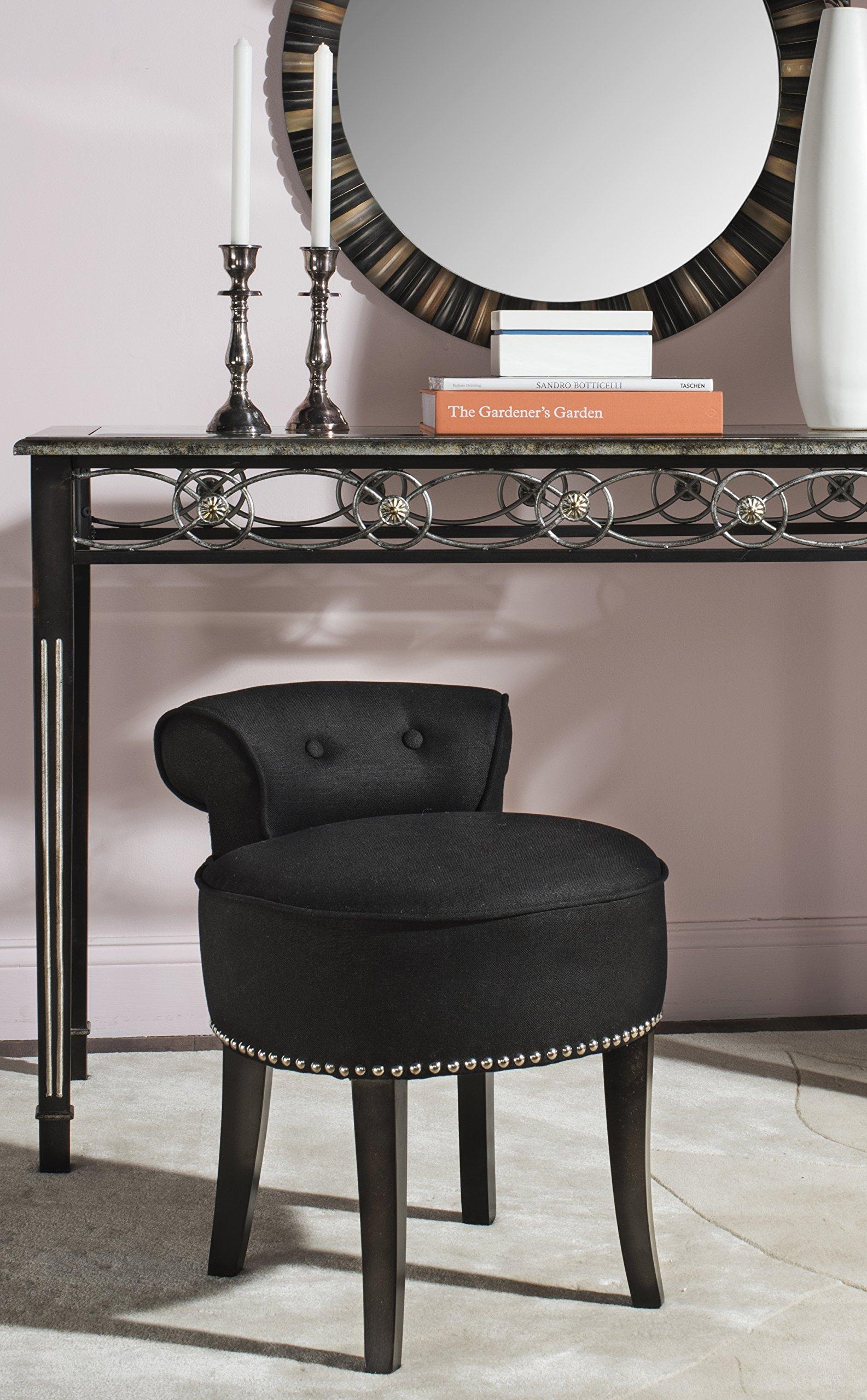 Enjoyable Details About Safavieh Mercer Collection Georgia Vanity Stool Black Machost Co Dining Chair Design Ideas Machostcouk