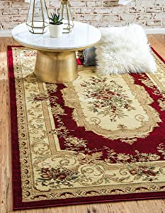 Unique Loom Versailles Collection Traditional Classic Red Area Rug (8' 0 x 10' 0)
