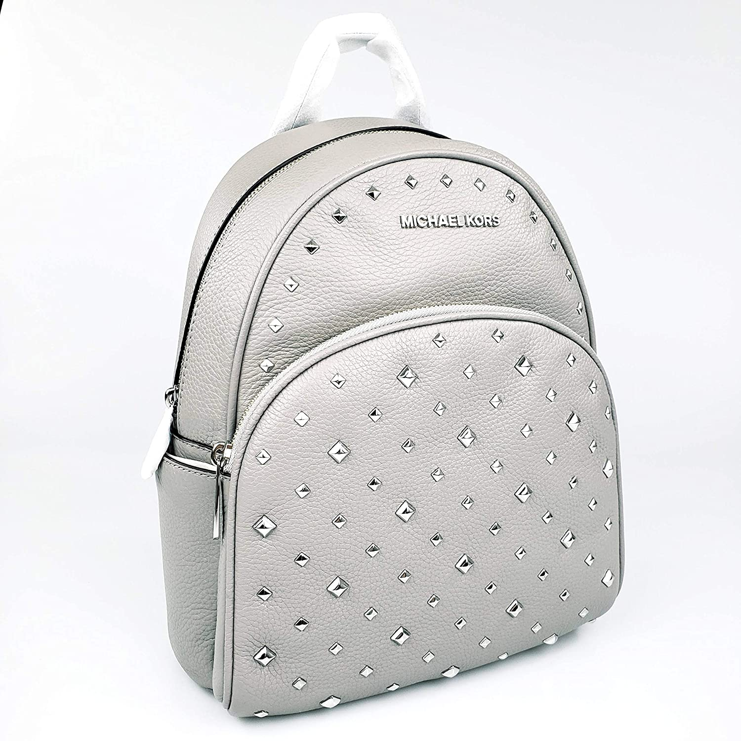 b377ba8efec581 Amazon.com: MICHAEL KORS Abbey Medium Studded Backpack in ASH Grey Pebbled  Leather: Computers & Accessories
