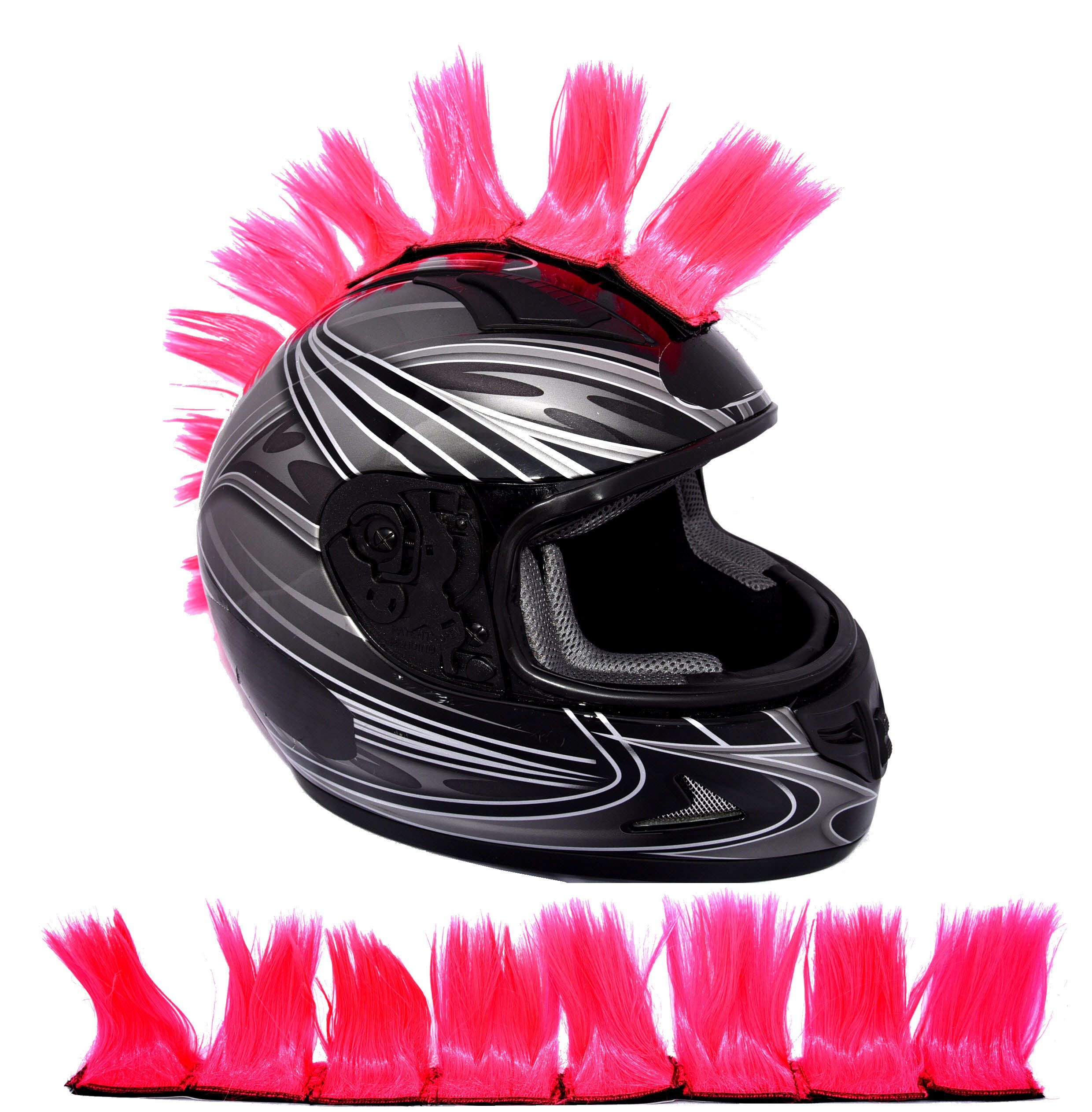 Fluorescent Hot Pink Ski or Snowboard Helmet Mohawk w//Sticky Hook and Loop Fastener Adhesive Hair Patches 2 long x 3 Tall 8 Helmet Hawks Motorcycle