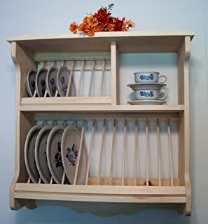 Wood Plate Rack Dish Organzier & Amazon.com: Plate Rack White MADE IN USA: Dish Racks: Kitchen \u0026 Dining