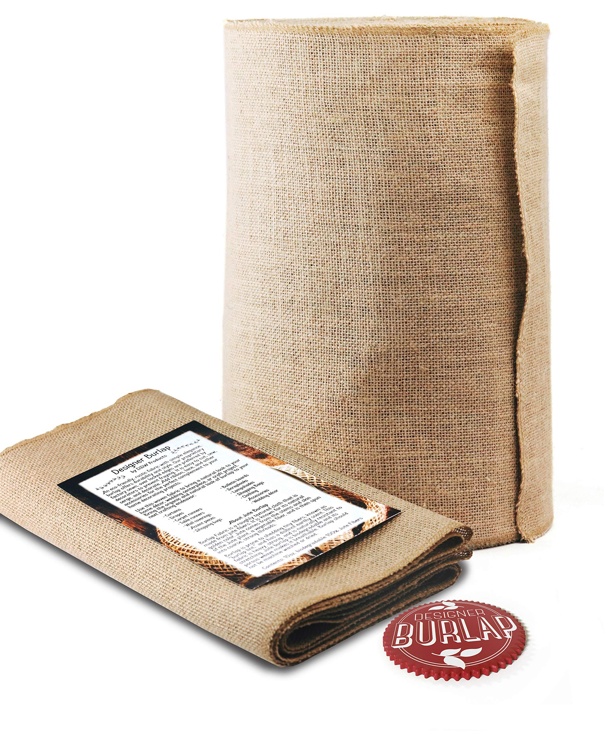 Burlap Table Runner - 14 Inch Wide x 50 Yards Long. No-Fray with Finished Edges. Burlap Fabric Roll Perfect for Weddings, Table-Runners, Decorations and Crafts. Decorate Without Mess by Designer Burlap