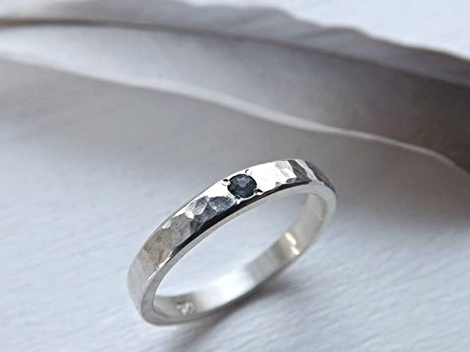 09a971cd04a7af Amazon.com: silver engagement ring minimalist, sapphire engagement ring  gemstone flush set, hammered silver ring with gemstone choice: Handmade