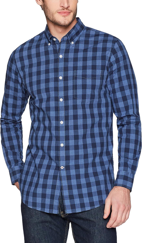 Camisa abotonada Hombre Marca Goodthreads Slim-fit Long-sleeve Heathered Large-scale Check Shirt
