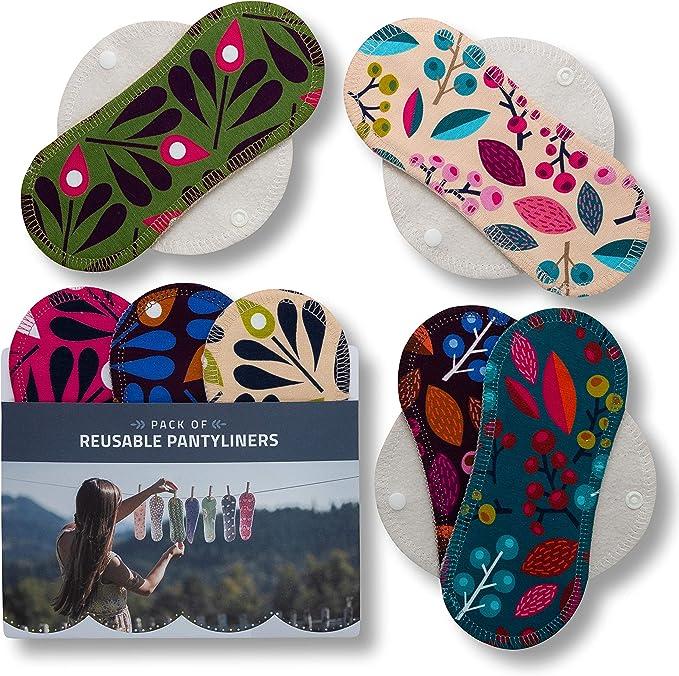 Salvaslips de tela reutilizables, 7-Pack Protege Slips de algodón ORGÁNICO con alas HECHAS EN LA UE, Compresas Bio sin PUL, Toallas Sanitarias para el ...