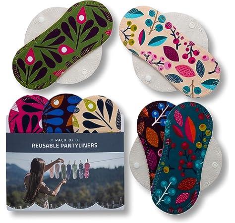 Salvaslips de tela reutilizables, 7-Pack Protege Slips de algodón ORGÁNICO con alas HECHAS EN LA UE, Compresas Bio sin PUL, Toallas Sanitarias para el uso diario y flujo blanco, NO para menstruación:
