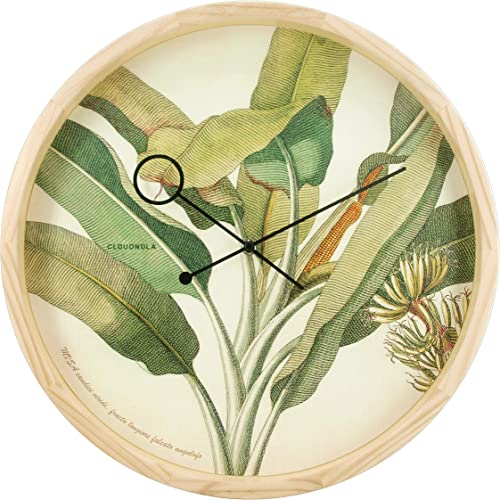 Cloudnola Botanical Palm Floral Wood Wall Clock and Wall Decor
