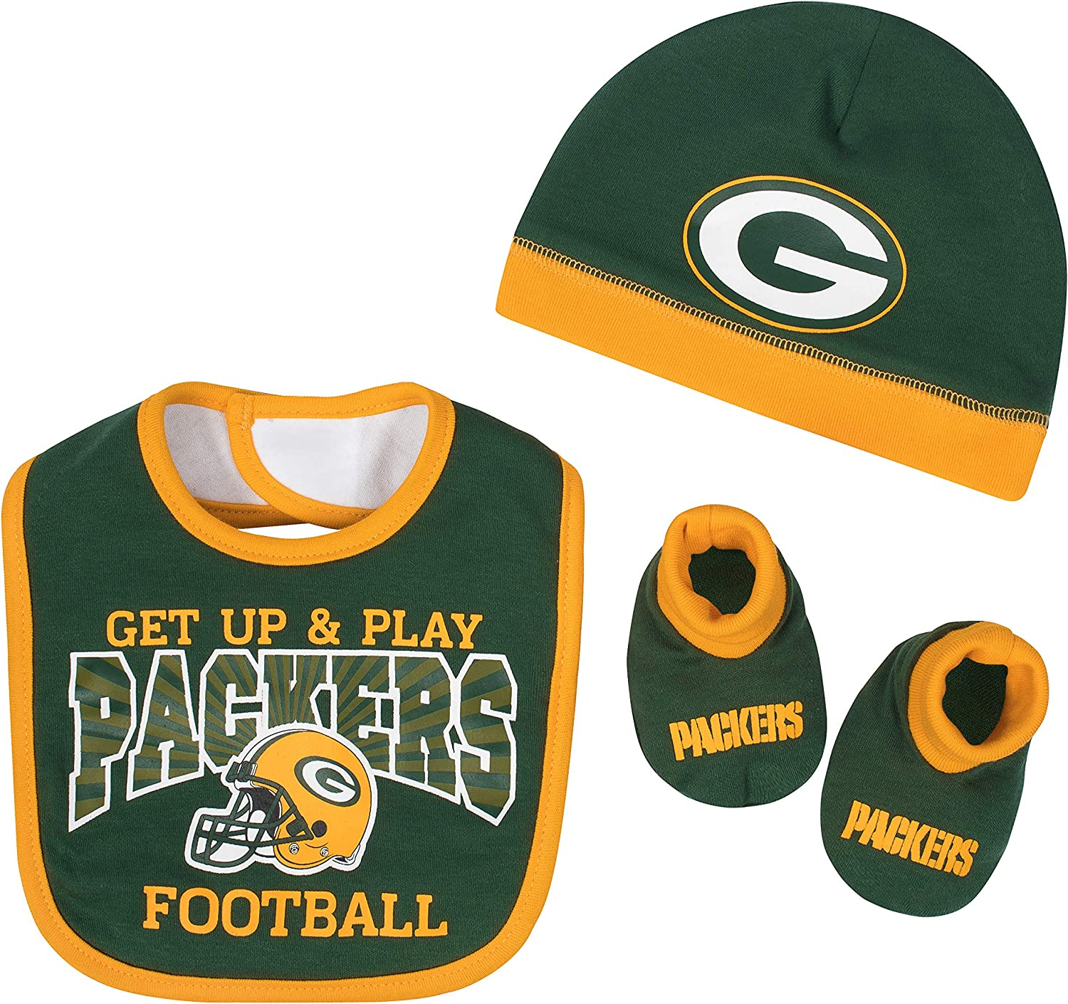 "Green Bay Packers Infant /""Forever/"" Packers Bodysuit Bib and Cap Set"