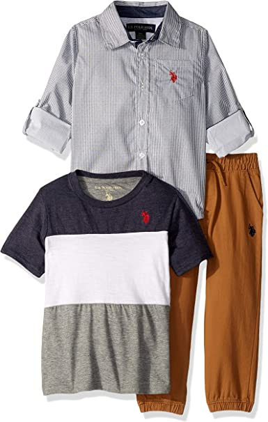 Quad Seven Boys 3-Piece Pant Set with Woven Shirt and Tee Toddler /& Little Boys