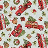 Springs Creative Red Truck Toss Christmas with Tree Cotton Fabric
