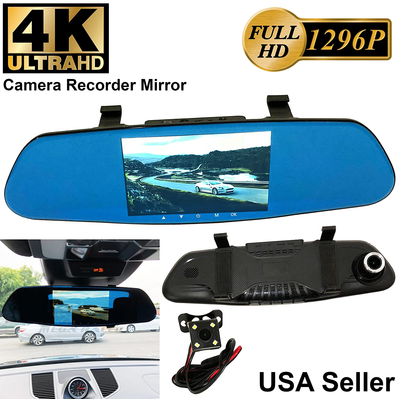 4 K Ultraユニバーサル5インチモニタフルHD 1296pブルーTint車フロント/バックアップ背面カメラビデオレコーダーDVR Cam内側ミラー B078K9NYN8