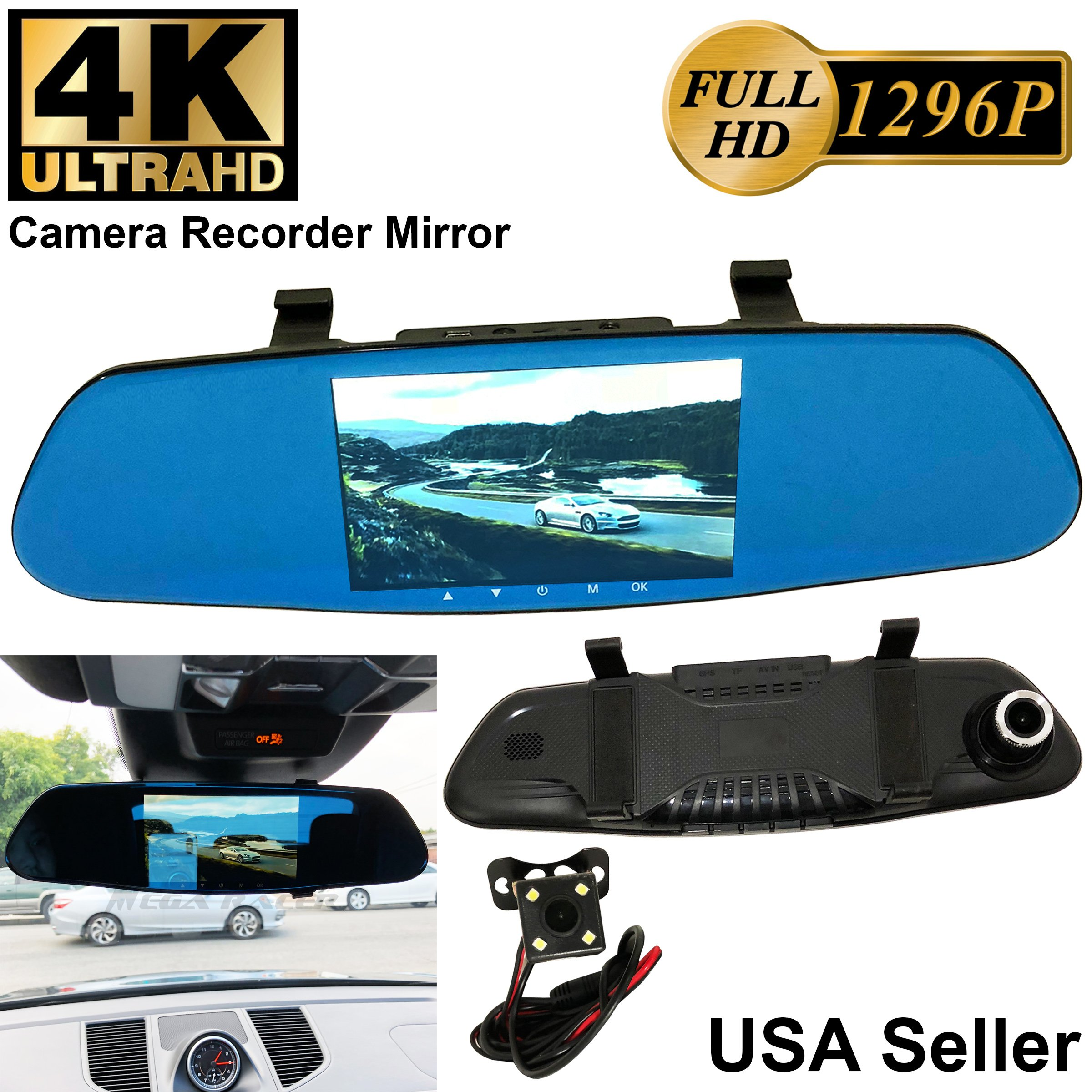 4K ULTRA 5.2 in Full HD 1296P Blue 300mm Auto Front/Back Up Reverse Rear Camera Video Recorder Rearview Rear-View Mirror