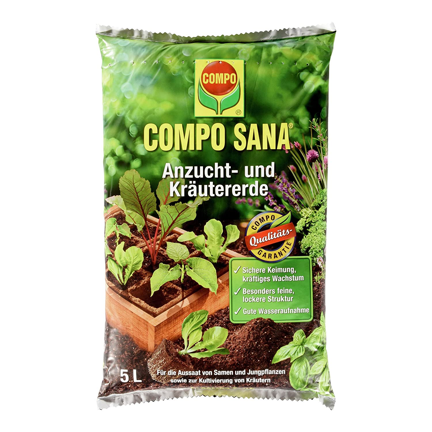 Compo Sana Cultivation and Herbal Soil, High Quality Earth For Glasshouse – Cuttings And Young Plants, 5 L 10620