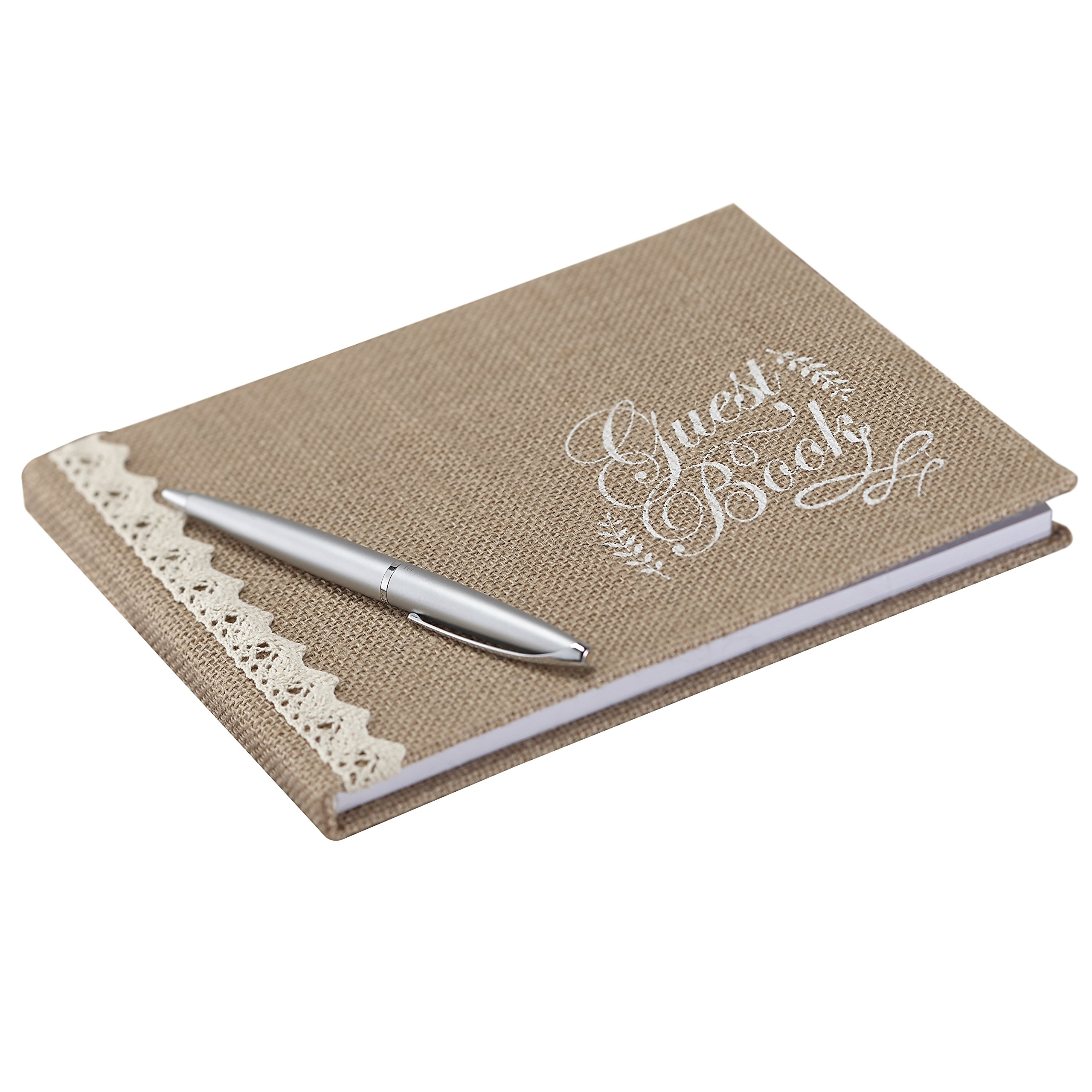 Ginger Ray Vintage Affair Hessian Burlap Wedding Guest Book, Brown