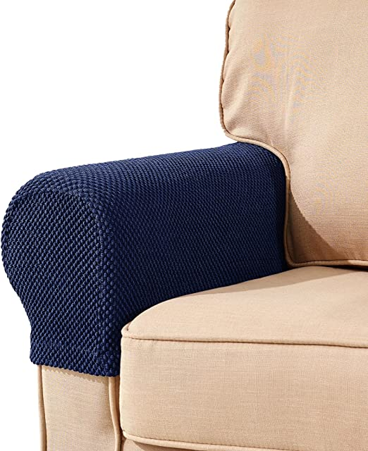 Subrtex Spandex Stretch Fabric Armrest Covers Anti Slip Furniture Protector Armchair Slipcovers For Recliner Sofa Set Of 2 Blue Jacquard