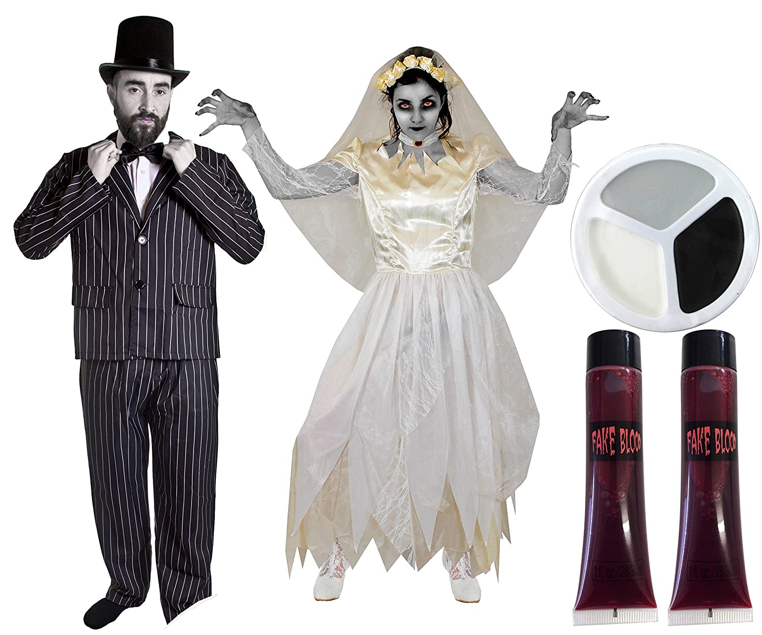 Bride And Groom Halloween Costume.Couples Dead Bride Groom Halloween Fancy Dress Costume Mens Pinstripe Suit With Top Hat Bowtie Ladies White Wedding Dress Matching Veil With