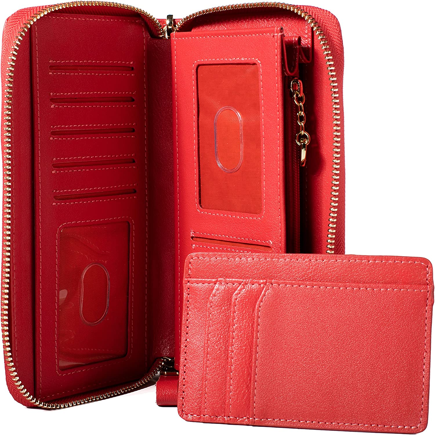 Stunning Quality Leather ID Stronghold Womens RFID Clutch Organizer with Zip Around and bonus matching mini wallet