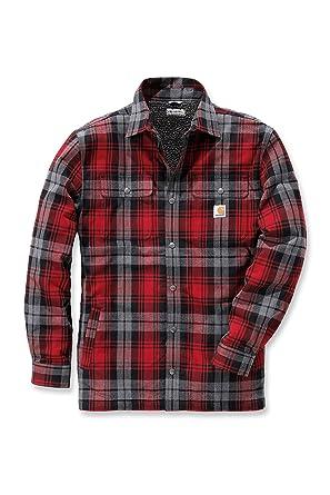 Camisa de rayas Hubbard Carhartt .102333.608.S004, para hombre, color:Rojo oscuro, tamaño:pequeño