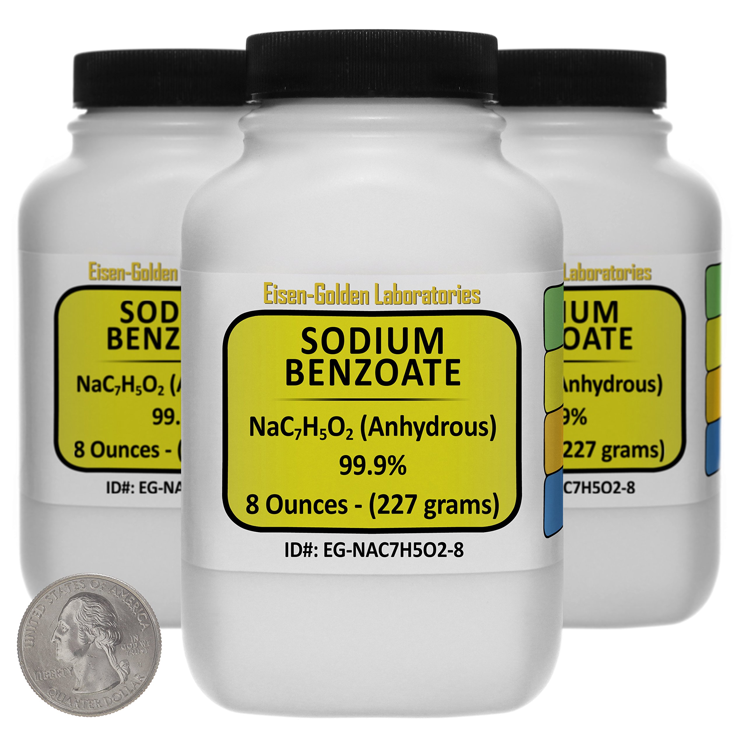 Sodium Benzoate [NaC7H5O2] 99.9% USP Grade Powder 1.5 Lb in Three Space-Saver Bottles USA