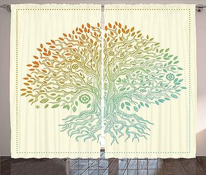 Amazon Ambesonne Tree Of Life Curtains Vintage Tree Of Life Magnificent Tree Of Life Pattern