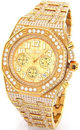 JoJino 28.00 ct Diamante simulado reloj para hombre Ap Busto abajo dorado Case Iced