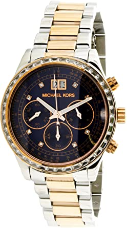 e8a13095a670 Image Unavailable. Image not available for. Color  Michael Kors Women s  Brinkley Rose-Tone Navy Blue Stainless Steel Watch