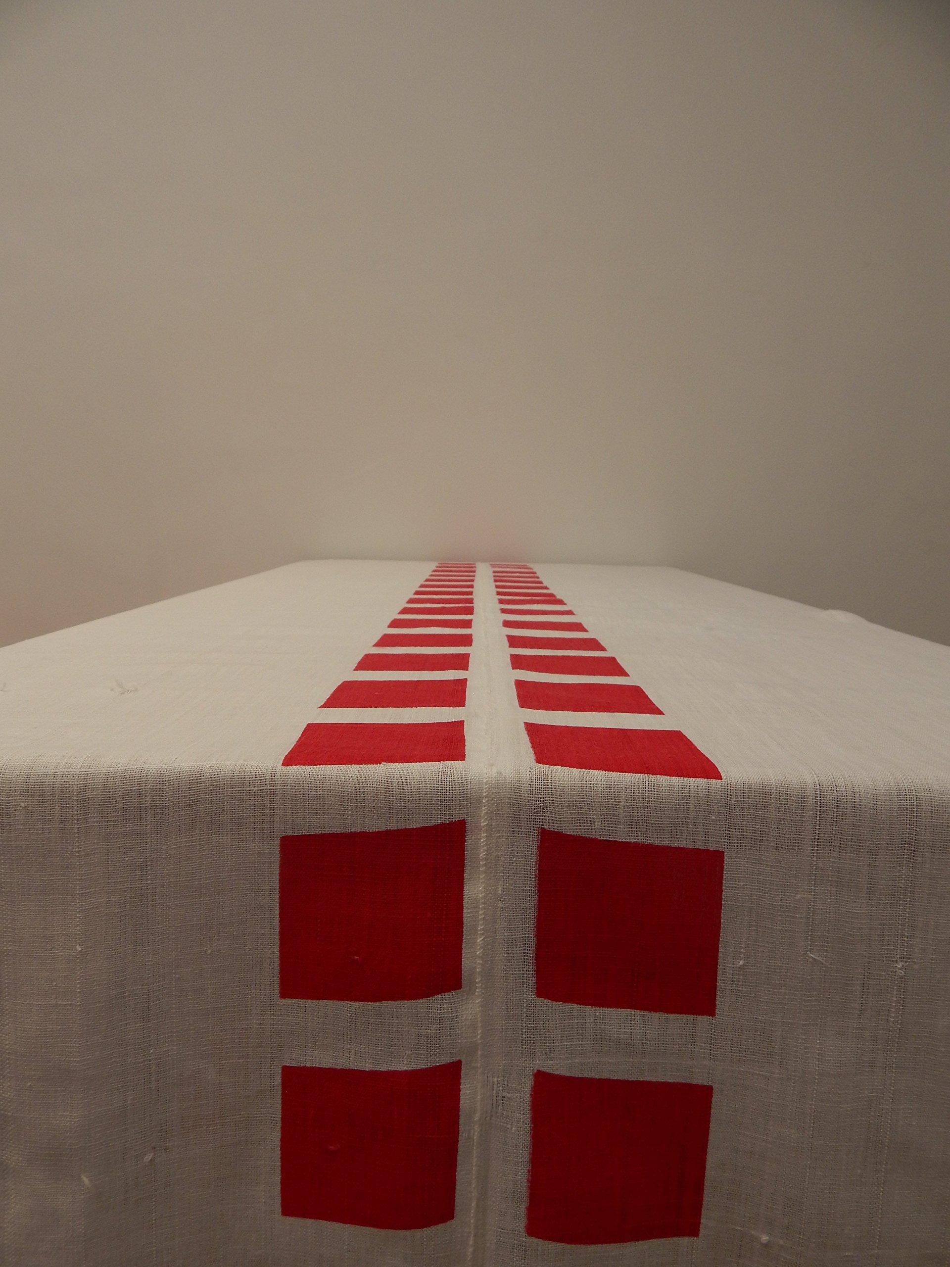 Gitika Goyal Home Cotton Khadi Red Screen Printed Tablecloth with Square Design, white, 72'' x 72''