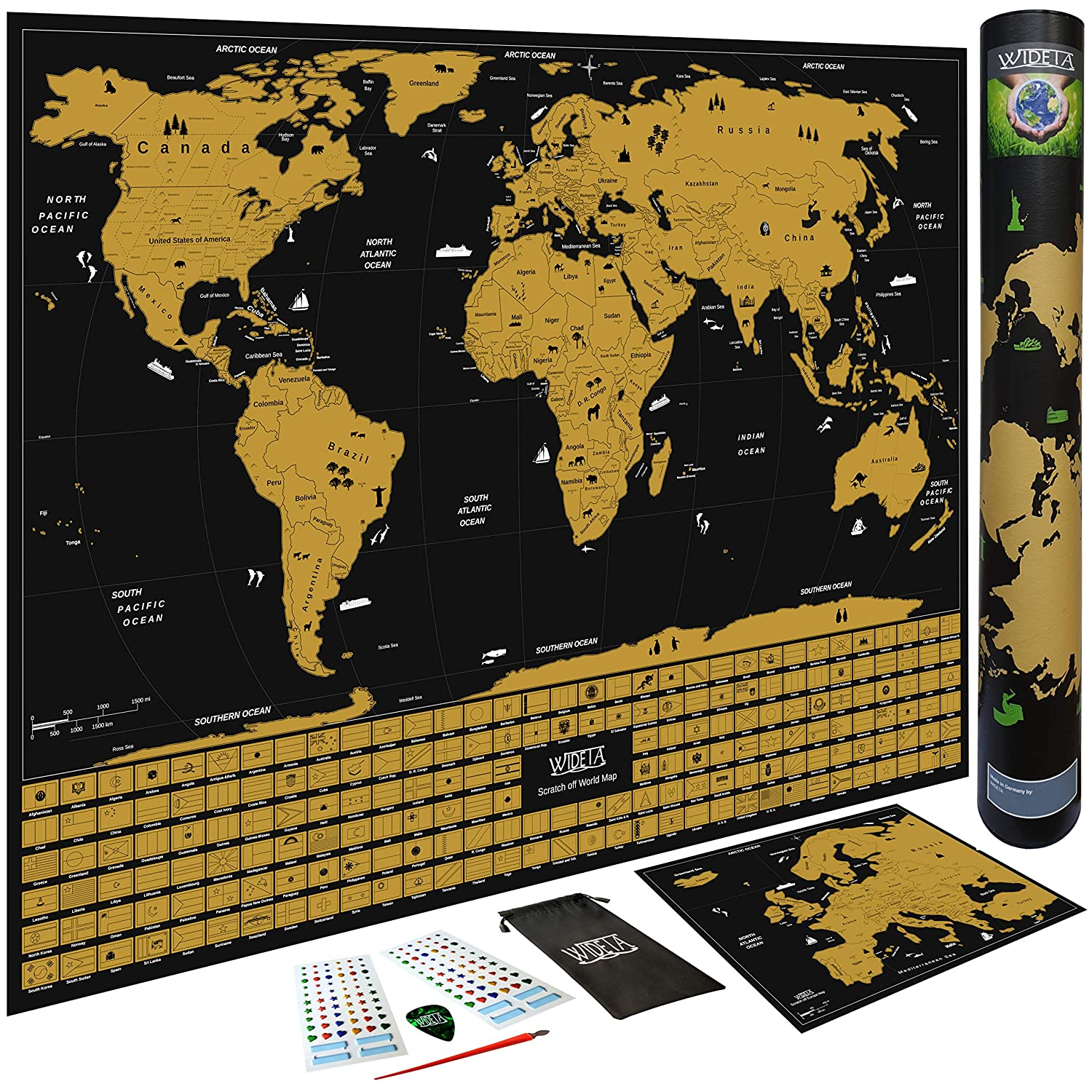 WIDETA Scratch off world map with flags of countries // Poster XL 60 x 42 cm Bonus Europe Map pick and scratch pen sticker
