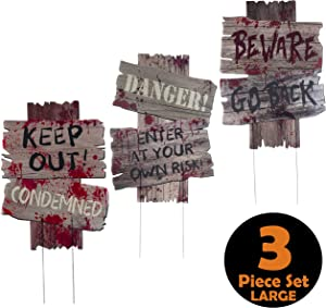 Halloween Outdoor Decorations Yard Signs with Metal Stakes for Scary Outdoor Décor Halloween Props - Beware - Do Not Enter Creepy Sidewalk Lawn Yard Warning Signs (3 Piece Set, 16.5 x 12 Inches)