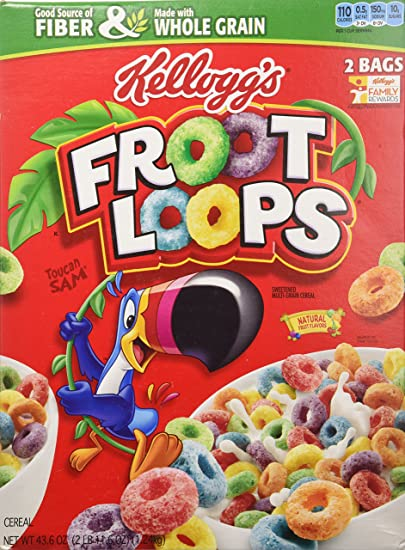 amazon com kellogg s froot loops cereal 43 6 total ounce two bag