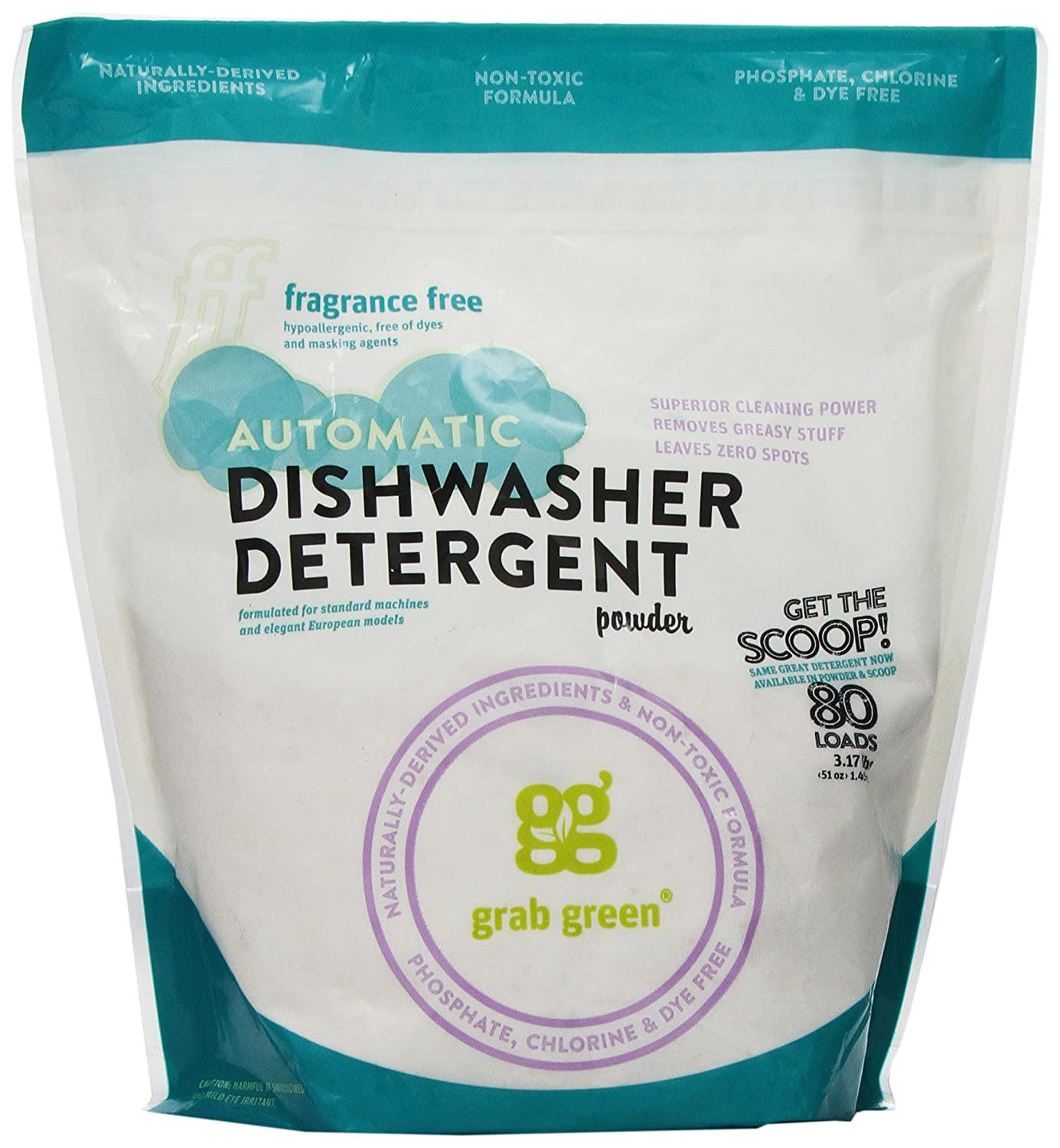 Amazon.com: Grab Green Natural Automatic Dishwashing Detergent Powder,  Fragrance Free, 80 Loads: Health U0026 Personal Care