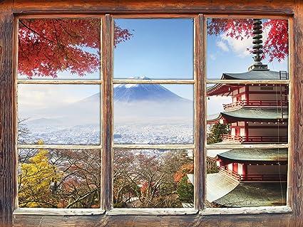 Decorazione Finestre Autunno : Tempio giapponese in autunno finestra adesivi murali d formato