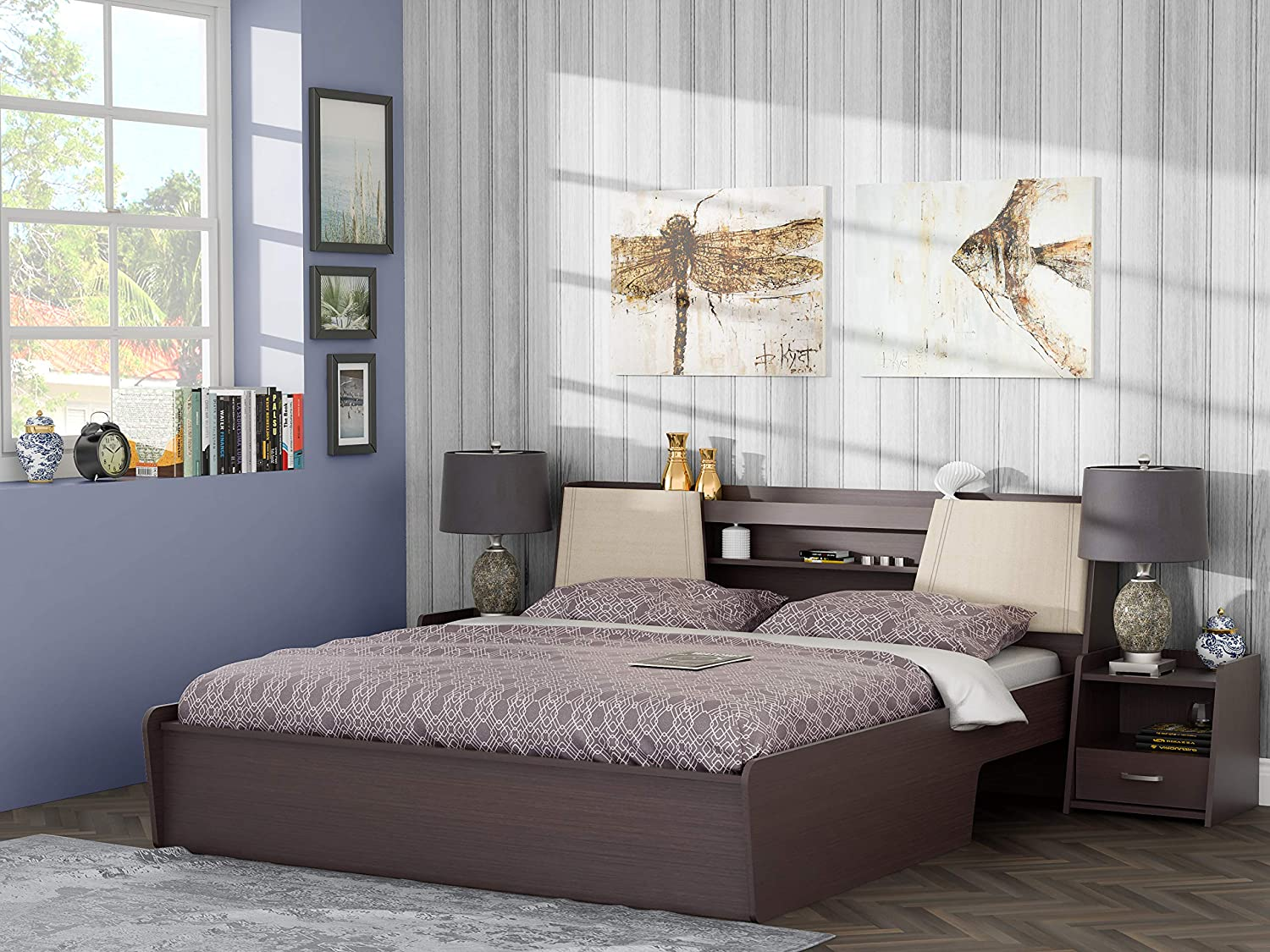 Stylespa Prudent King Size Engineered Wood Bed With