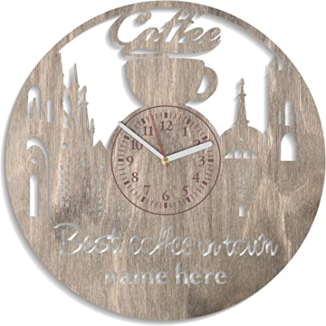 Amazon Com Exclusive Birthday Gift Coffee Wall Clock Large Coffee Art Home Decor Coffee House Cusrom Kitchen Decor Coffee Wooden Clock 12 Inch Unique Gift For Men And Woman Coffee Time Wooden Clock