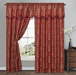 Simple Classic. Jacquard Window Curtain Panel Drape with Attached Wave Valance. 2pcs Set. Each pc 54 inches Wide x 84 inches Drop with Valance. (Burgundy)