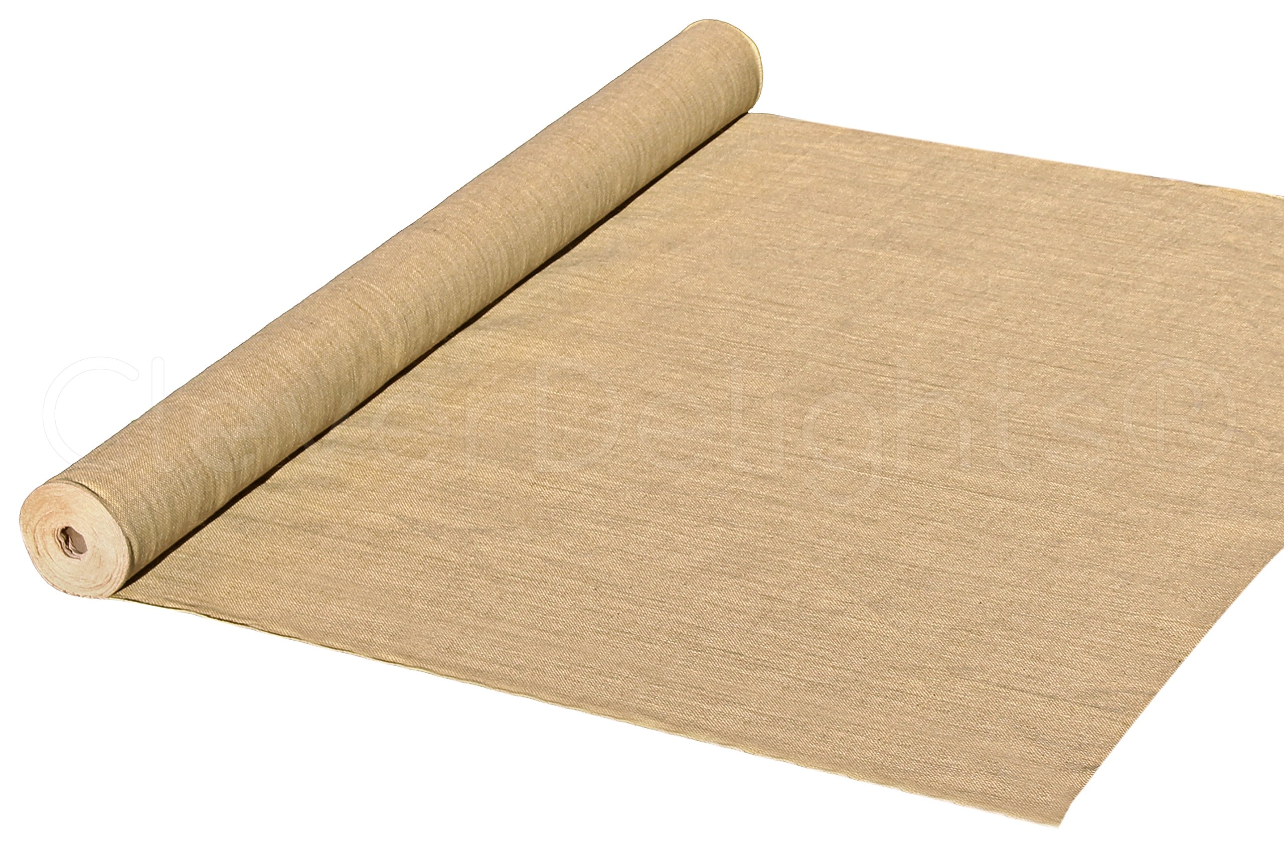 CleverDelights 60'' Premium Burlap Roll - 20 Yards - No-Fray Finished Edges - Natural Tight Weave Fabric