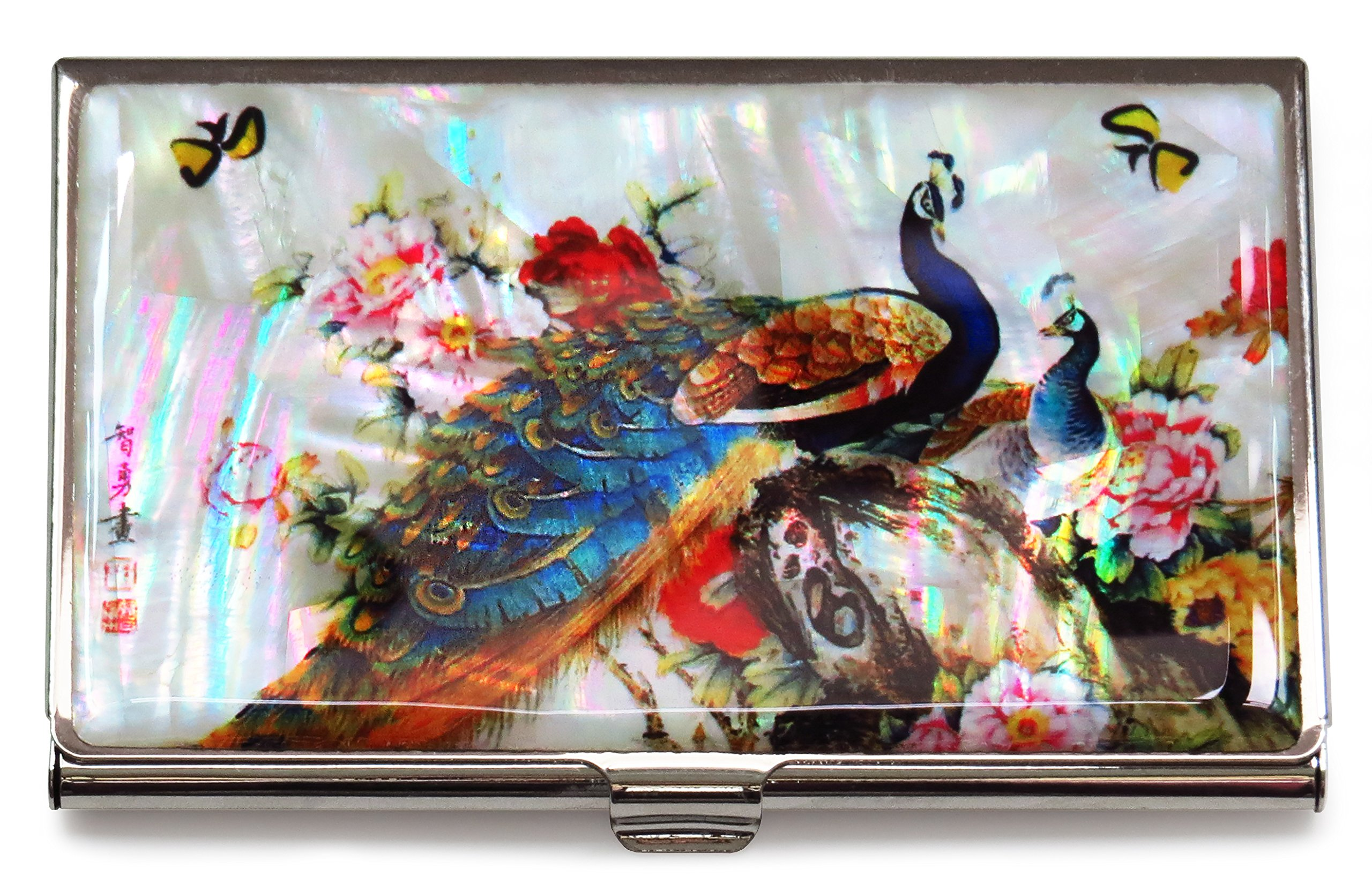 Peacock White Business Credit Card Case Id Holder Metal Travel Wallet Mother of Pearl