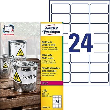 Avery España L4773-100 Caja de2400 etiquetas blancas de poliéster 63.5 x 33.9mm: Amazon.es: Oficina y papelería