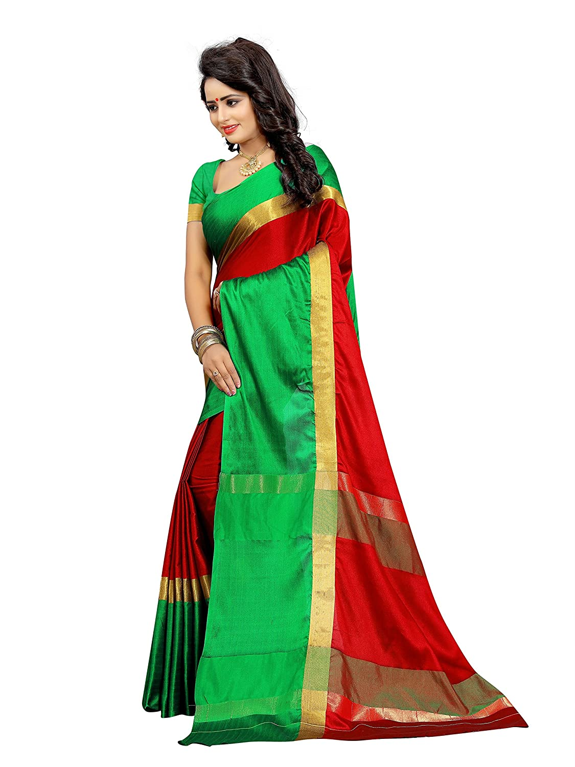 a301abe366 Morpich Fashion Women's Printed Cotton Silk Saree with Blouse Piece (T1042,  Golden, Free Size): Amazon.in: Clothing & Accessories