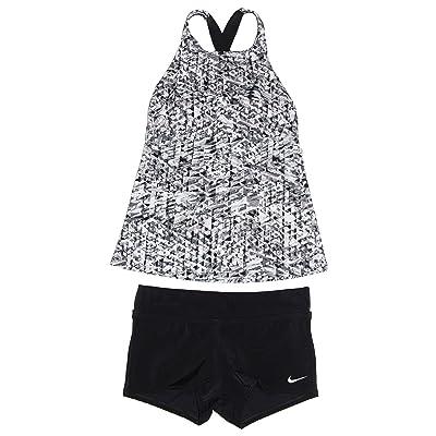 NIKE Women's Tankini 2-Piece Strap Back Swimsuit Grey/White/Black