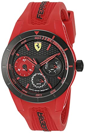 07b3d7b6a27 Image Unavailable. Image not available for. Color  Ferrari Men s 0830258 REDREV  T Analog Display Quartz Red Watch